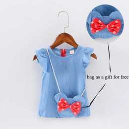 Wholesale Short Jeans For Kids - Wholesale- Cute Baby Girl Dress Jeans Children Kids Baby Denim Dresses One Piece Baby Summer Clothing For School Casual Wear Clothes Girl