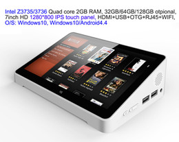 Wholesale Touch Screen Hdmi 7inch - 10pcs 7inch HD screen Touch panel Dual Boot Android4.4 Windows10 Intel 3735 3736 2GB 32GB IPTV streaming TV Box PC Box RJ45 USB HDMI