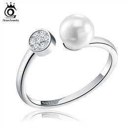 Wholesale Polished Stones Wholesale - Perfect Polish 925 Sterling Silver Finger Rings Size for Women With Simulated Pearl Hot Sale Free Shipping SR15