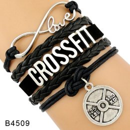 Wholesale Crossfit Ropes - (10 Pieces Lot)Infinity Love Fitness Trainer Crossfit Gym Addict BBG Girl Charm Leather Wrap Cuff Bracelets For Women Men Jewelry