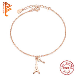 Wholesale Heart Shaped Bangle Bracelet - BELAWANG for Lover 925 Sterling Silver Lock&Key Pendants Bracelet&Bangle Rose Gold Tower Heart Shape Bracelet New Arrival Jewelry Wholesale