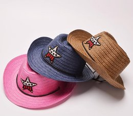 Wholesale Boys Western Hat - The summer of 2017 western cowboy hat straw hat boy girl child men's hat factory direct wholesale distribution of free sunscreen