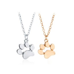 Wholesale Birthday Sweater - Fashion Cute Pets Dogs Footprints Paw Chain Pendant Necklace Necklaces & Pendants Jewelry for Women Sweater Necklace Alloy Birthday jewery