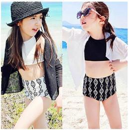 Wholesale Swimwear Girl Sunscreen - Summer Children Swimwear Set Fashion Swimsuit For Girls White Black Bikini 3pcs Bathing Suits Sunscreen Coat+Vest+Shorts