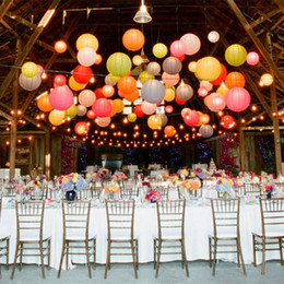 Wholesale Chinese Paper Lanterns 12 - Party Decoration 6 8 10 12 14 16 Lot Color Chinese Paper Lanterns Wedding Party Decorations