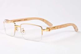 Wholesale Wood Black Eyeglasses Frames - 2017 new arrival buffalo horn glasses for men luxury designer sunglasses women wood sunglasses half frame metal eyeglasses frame