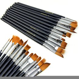 Wholesale Nylon Artist - 12pcs Artist Brushes Set Short Wooden Handle Nylon Hair Watercolor Painting Brush For Oil Painting Tools