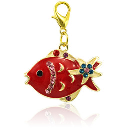 Wholesale Fish Accessories - Fashion Lobster Clasp Charms Gold Plated Mix Color Rhinestone Red Fish Animals DIY Pendants Jewelry Making Accessories