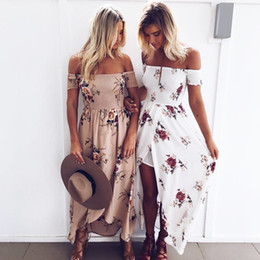 Wholesale Ruched Wedding Dresses Sleeves - Maxi Dress long dresses women Off shoulder beach summer Floral print Vintage chiffon whiteLadies Summer Beach Wedding Dress