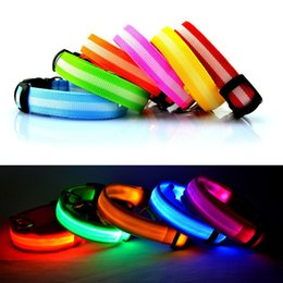 Wholesale Collar Leashes - LED Nylon Pet Dog Collar Night Safety LED Light Flashing Glow in the Dark Small Dog Pet Leash Dog Collar Flashing Safety Collar mix color