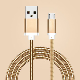 Wholesale Spring Line Cable - Real 2A Fast Charging Cable 1M 3FT Metal Spring Steel Micro USB Sync Data Wire Lighting Scaling Aluminum Alloy Line Cord For Samsung S8 HTC