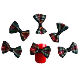 Wholesale 3d Bows For Nail Art - 5pcs pack New Fashion Fabric Bow 3d Nail Art Decorations Charms Grid Designs Nail Art Tips for Nails Accessories NJ085