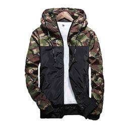 Wholesale red hooded coat - 2017 Spring Men's Camouflage Coat Mens Hoodies Casual Jacket Brand Clothing Mens Windbreaker Coats Male Outwear 5XL