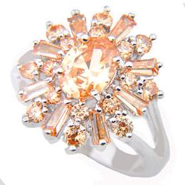 Wholesale Morganite Crystal - Half Dozen Valentine Gift Full Fire Champagne Morganite Crystal Gemstone 925 Sterling Silver Plated Russia Weddiing Ring