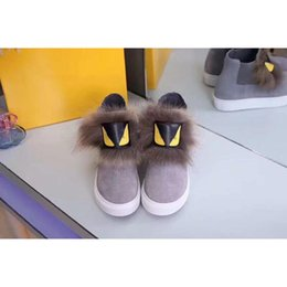 Wholesale Woman Long Shoes - 2017Fendi little monster Yellow eyes long hair With brown hair Outdoor shoes New style canvas High help female shoes