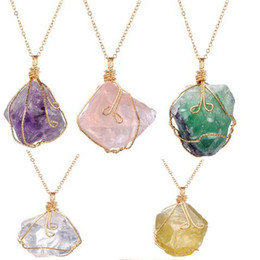 Wholesale Gemstone Animal Necklace - New Crystal Quartz NecklacesHealing Point Chakra Bead Gemstone Necklace Pendant original natural stone-style Pendant Necklaces Jewelry