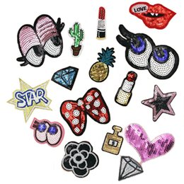 Wholesale Iron Appliques Flowers - 16pcs Mixed Bow tie patch Iron On Patches Cloth Sequins Patches DIY Sew On Appliques Garment Accessory Lip Eyes Flower Hot Fix Motifs