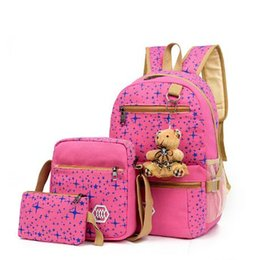 Wholesale Canvas Backpack Large - Wholesale three-piece shoulder bag Korean version of canvas printing large capacity backpack college high school junior high school student