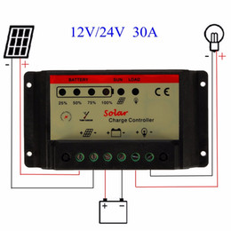 Wholesale 12v Solar Panel Battery Charger - Freeship Universal 30A 12V 24V PWM Solar Panel Charger Controller Battery Batteries Cells Charging Regulator Automatic identification Pro