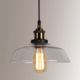 Wholesale Antique Glass Ceiling Shade - Wholesale Brand New Antique Vintage Industrial Style Ceiling Light Metal Pendant Lamp Glass Shade Clear Color Christmas Decoration