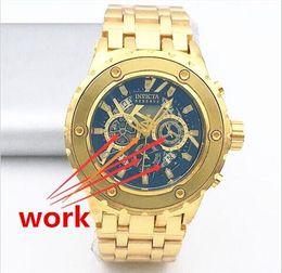 Wholesale Tungsten Watch Steel Black - High quality Swiss famous brand INVICTA rotating dial outdoor sports men watch Luxury brand Tungsten steel quartz watch+Ordinary box