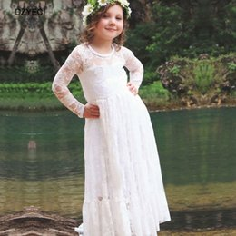 Wholesale Children Maxi - Bridesmaid Dresses For Children Girl Gown Wedding Party Princess Costume Clothes Fashion Ceremony Kid Maxi Pageant Dress Frock