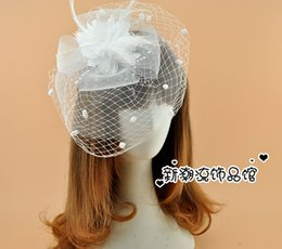 Wholesale Black Ivory Fascinator - Free Shipping Hot Sale Iovry White Black Red Birdcage Net Wedding Bridal Fascinator Face Veils Feather Flower with Hairpins