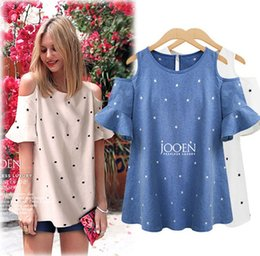 Wholesale Strapless Sleeved Shirt - Large Womens Europe 2017 new stars loose thin Strapless short sleeved T-shirt