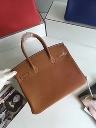 Wholesale Camel Hand Bag - Top quality real leather handbag elegant hand making tote 35cm