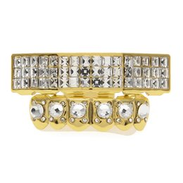 Wholesale Fashion Teeth - Top Quality Fashion Hip-Hop Grillz For Mens Hot Brand Hip Hip Teeth Grillzs Cap Gold Plated Wholesale