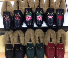 Wholesale Scoop Shoes - 2016 autumn and winter catwalk leather slippers rabbit half women shoe pointed flat Plush drag scoop Casual shoes size 34-42