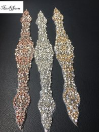 Wholesale Diamond Bridal Belts - Handmade Beaded Sewing Bridal Sash Crystal Silver Clear Rhinestone Appliques for Wedding Dresses Belt Gold Silver Rose Gold Colors Love4