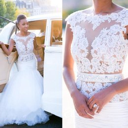 Wholesale See Through Top Wedding Dresses - Mermaid Wedding Dresses For Black Girls See Through Top Sheer Jewel Neck Wedding Gowns with Lace Appliques Crystal Bridal Gowns 2017