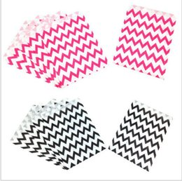 Wholesale chevron gift bags - Paper Gift Bags Party Food Paper Bag Chevron Treat Craft Paper Popcorn Bags Polka Dot Middy Bitty Food Safe Flat Paper Craft Bags