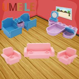 Wholesale Toy Wooden House Block - Wholesale- UMEILE 10Pcs set Original City Princess Girl Friend Room Bed Drawer Sofa Wash Tub Closestool Big Block Baby Toys Play House