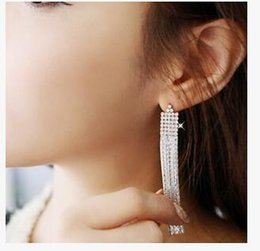 Wholesale Office Earrings - Fringed with long drill sequins exaggerated joker temperament earrings office joker earrings