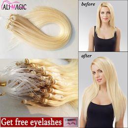 2019 pelo rizado remy Remy Micro Loop Extensiones de cabello, Micro Links Extensions Ring # 60 Platinum Blonde Brasileño de pelo lacio al por mayor 1g / strand, 100G pelo rizado remy baratos