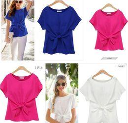 Wholesale Plus Size Womens Elegant Clothing - T-Shirts Womens Fashion Clothing Chiffon Women's Summer Short Sleeve Tops Tees Elegant Bow T-shirt Solid White Pink Blue Plus Size