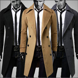 Wholesale Cheap Male Trench Coats - Wholesale- Cheap Male Pea Coat Jacket Double Breasted Trenchcoat Men Winter Peacoat Long Trench Coat Mens Overcoat Black, Khaki,Grey