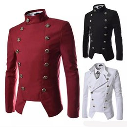 Wholesale Denim Blazers For Men - Casual Homme De Marque Blazer Denim Male Clothing Formal Slimming Suit for Mens Double Breasted Jacket & Coat Steampunk