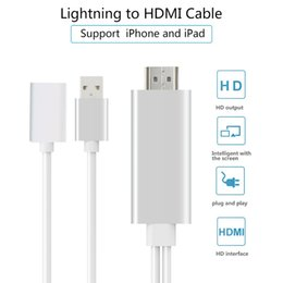 Wholesale Iphone Compatible Cable - 10pcs i7 lightning USB to HDMI cable adapter 1080P HDTV AV Connector compatible with IOS8~10 system for iPhone 7 7Plus 6 6s Plus iPad