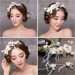 Wholesale Fresh Wreaths - Woman headdress hair Lomen Korean bride headdress silk yarn feather wreath wreath 6210731 hairpin suit small fresh sweet