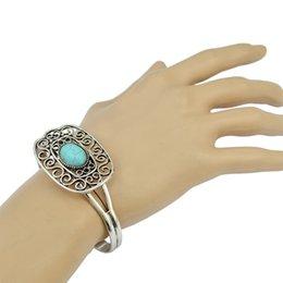 Wholesale Vintage Turquoise Cuff Bracelet - Wholesale- Fashion Wholesale Simple design Charm Personality Turquoise Bracelet Vintage Silver Openable Bangle Cuff Bracelet for Women