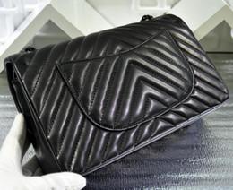 Wholesale Chevron Stripe Ribbon - 94305 Medium 25.5cm Chevron Classic Womens Black Genuine Lambskin Leather Quilted Plaid Double Flaps Shoulder Bag Chain Handbag Black Hw