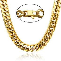 Wholesale Curb Link Mens Gold Necklace - Beichong Gold ,silver Stainless Steel Necklace Curb Cuban Link Silver Color Mens Chain Fashion Jewelry KNM07