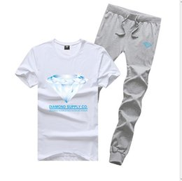 Wholesale Diamond Supply Shirts Free Shipping - R411 FREE SHIPPING men's Diamond Supply set cotton t shirts + long pants skateboard solid hip hop letter Leisure Tracksuits