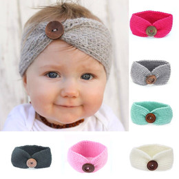 Wholesale Baby Hair Headband Winter - 2017 Baby Girls Crochet Knitted Headbands Infant Toddler 7 Colors Wool Buttons Hairbands Autumn Winter Head Wrap Children Hair Accessories