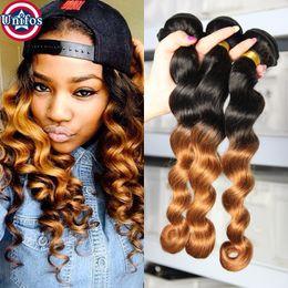Wholesale Ombre Hair Dye Weave - Ombre Brazilian Loose Wave Virgin Human Hair Extensions 3pcs lot 1b30 Two Tone Human Hair Weave Best Quality Brazilian Hair Weft Unifos