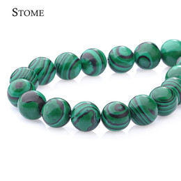 Wholesale Natural Blue Gemstones - Natural Malachite Round Loose Beads Gemstone 4-14MM For Make Bracket Jewelry S-001 Stome