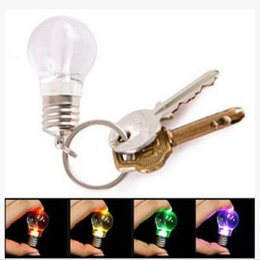 Wholesale Led Keychain Color - LED Bulb Keychain LED Light Keychains Torch Keyring Colorful Flashlight Rainbow Color Key Chain Bulb Necklace Wrestling Not Broken Bulb